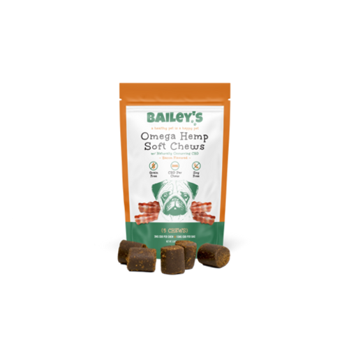 Bailey's Omega Hemp Soft Chews 15mg per Bag 5 Treats - Bacon