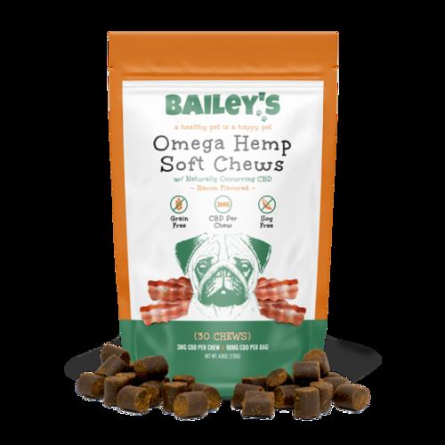 Bailey's Omega Hemp Soft Chews 90mg per Bag 30 Treats - Bacon