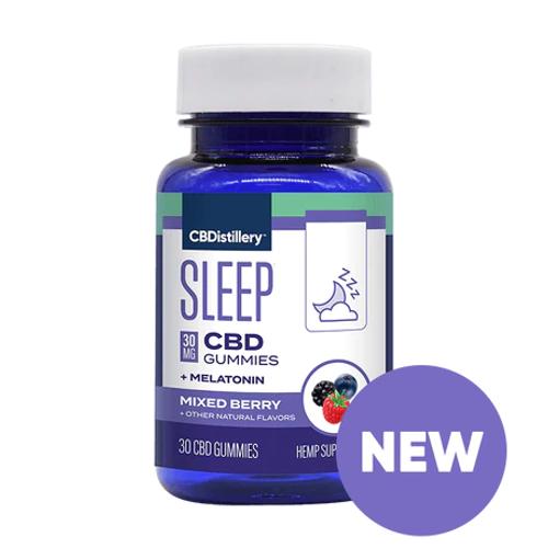 CBDistillery Sleep CBD + Melatonin 30mg 30 Count - Mixed Berry, Full Spectrum HEMP CBD |  PRCBD