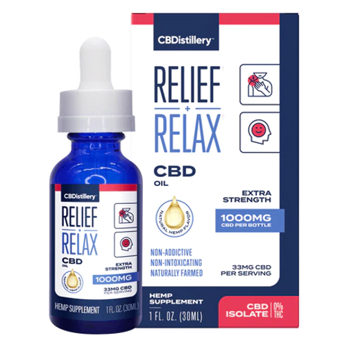 CBDistillery Relief + Relax Tincture Isolate 1000mg 30mL, Full Spectrum HEMP CBD |  PRCBD