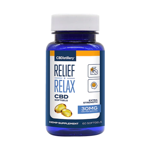 CBDistillery Relief + Relax Tincture FS 30mg 60 Softgels