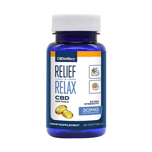 CBDistillery Relief + Relax Tincture FS 30mg 60 Softgels, Full Spectrum HEMP CBD |  PRCBD