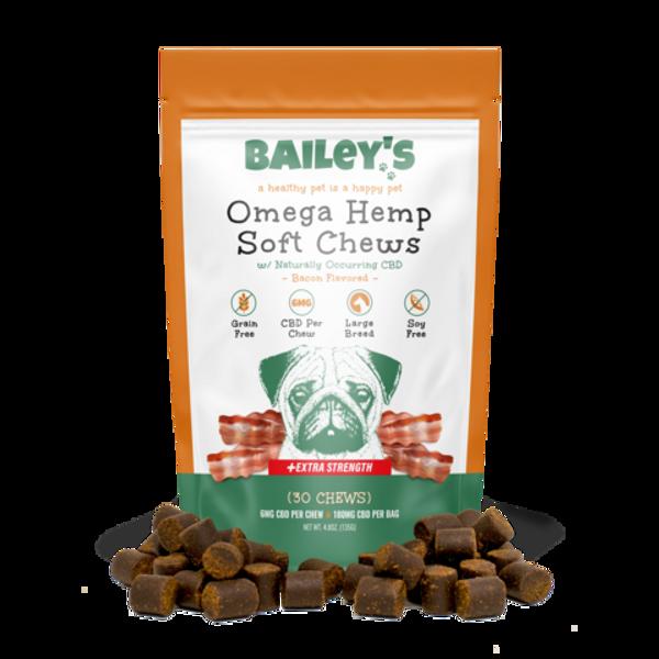 Bailey's Omega Hemp Soft Chews 180mg per Bag 30 Treats - Bacon