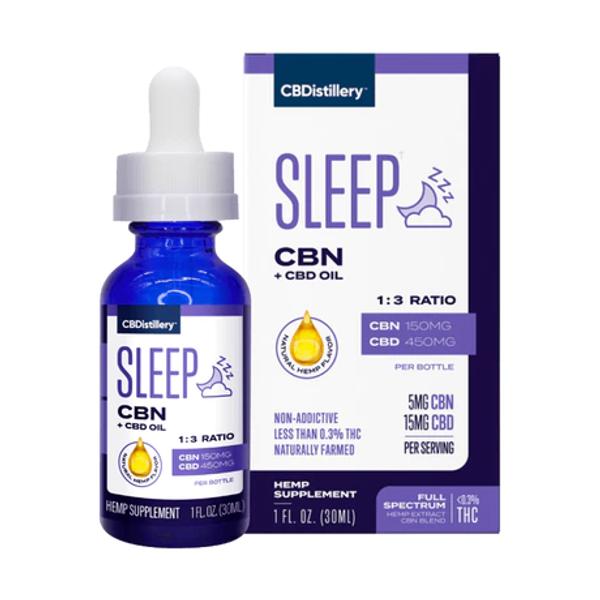 CBDistillery Sleep Tincture FS CBD 450mg + CBN 150mg 30mLs, Full Spectrum HEMP CBD |  PRCBD