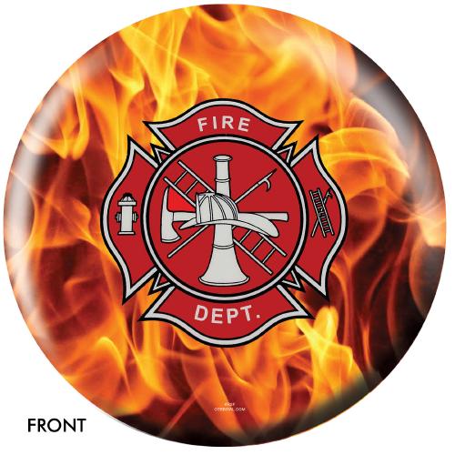 OTBB Fire Department Yellow Fire Bowling Ball