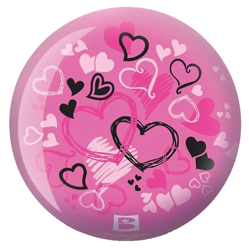 Brunswick Hearts Glow Viz-A-Ball Bowling Ball Back Side