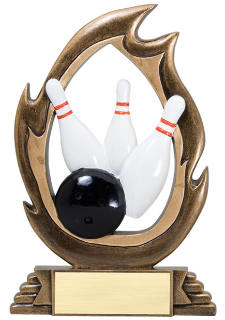 Flame Series Bowling Resin Trophy
