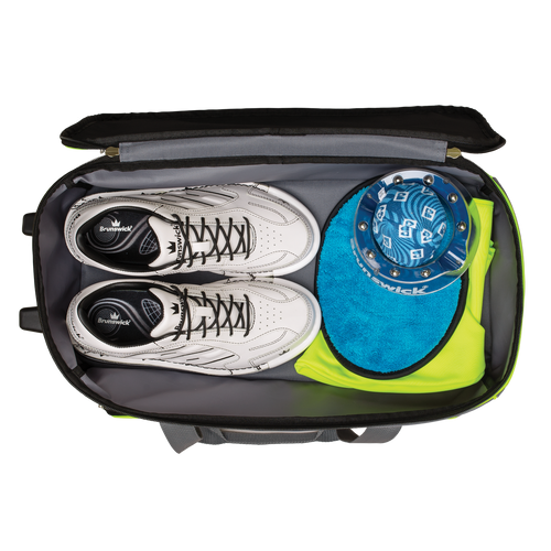 Brunswick Crown Deluxe 2 Ball Roller Bag Navy/Lime Shoe Compartment