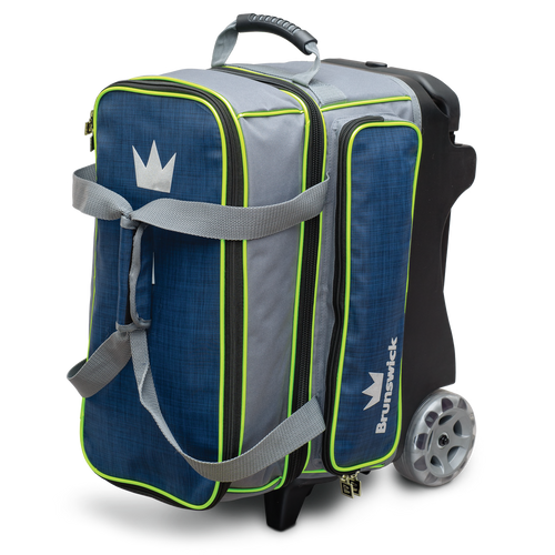 Brunswick Crown Deluxe 2 Ball Roller Bag Navy/Lime