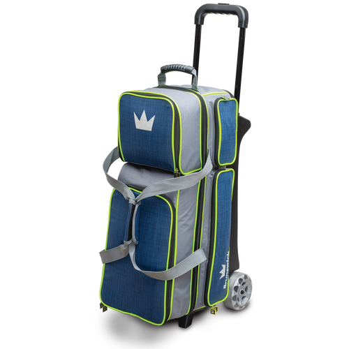 Brunswick Crown Deluxe 3 Ball Roller Bag Navy/Lime