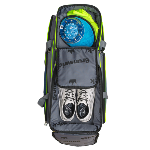 Brunswick Crown Deluxe 3 Ball Roller Bag Navy/Lime Shoe Compartment