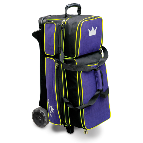 Brunswick Crown Deluxe 3 Ball Roller Bag Purple/Yellow