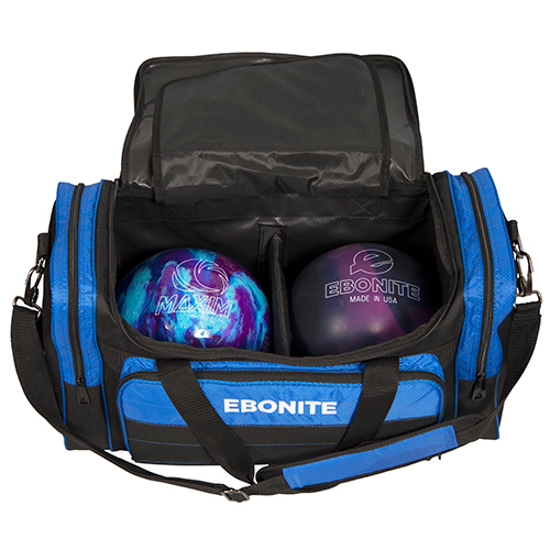 Ebonite Conquest Double Tote Bag Black/Blue Ball Storage