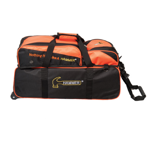 Hammer Deluxe Triple Ball Tote Roller Bag w/ Removable Pouch Black/Orange