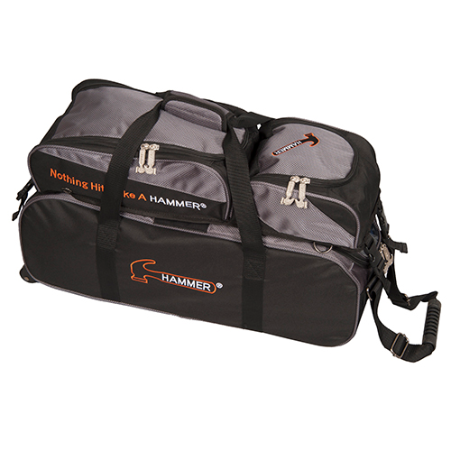 Hammer Deluxe Triple Ball Tote Roller Bag w/ Removable Pouch Black/Carbon