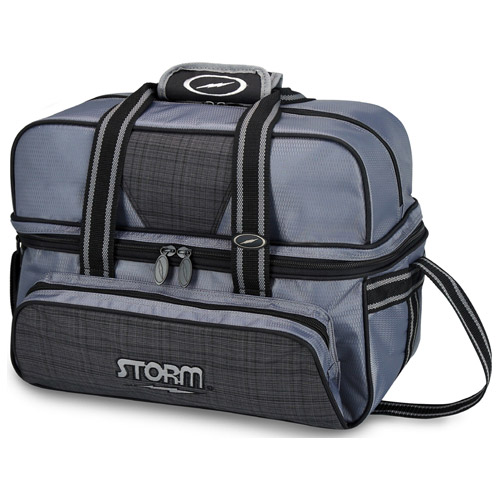 Storm 2-Ball Tote Deluxe Bowling Bag Charcoal Plaid/Grey/Black