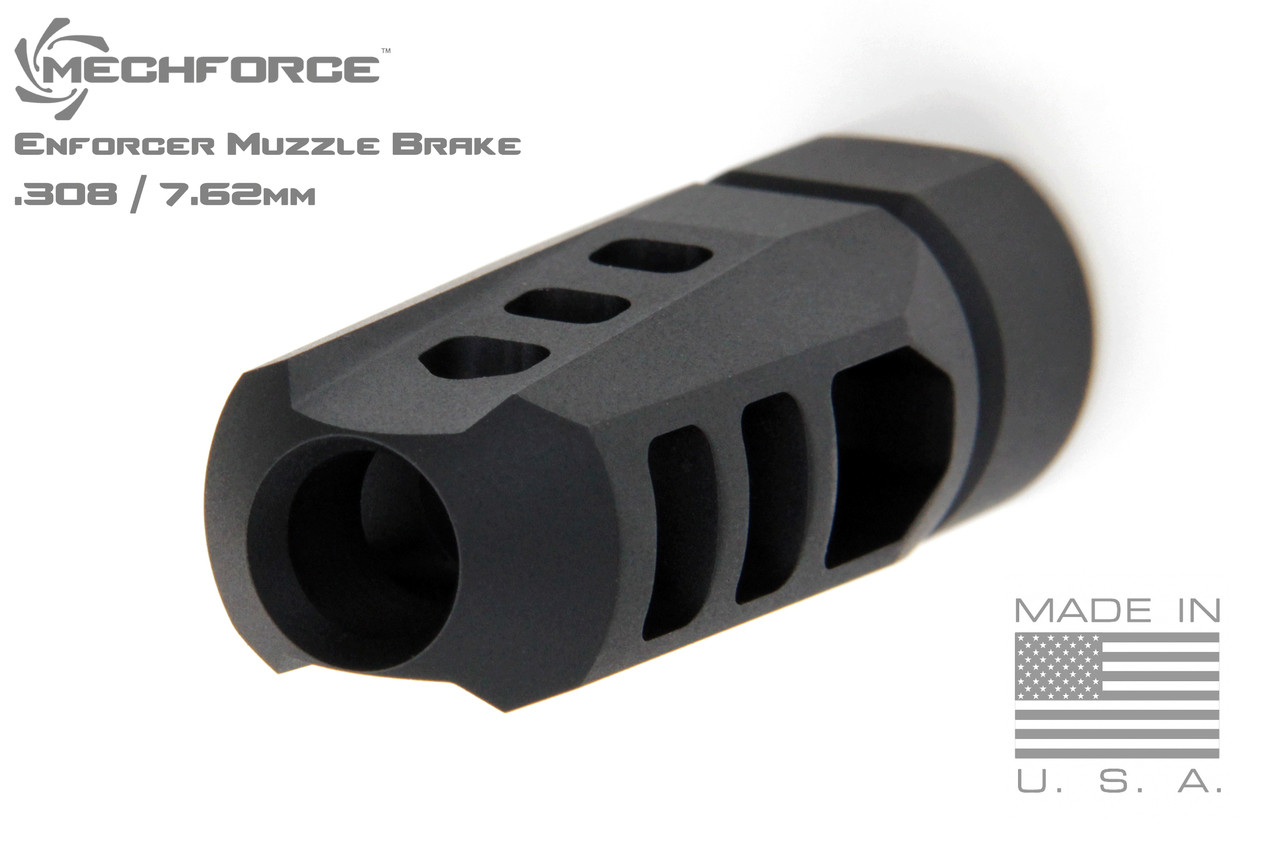 Mechforce Enforcer Muzzle Brake Compensator 5/8-24 TPI  308 / 7 62mm with 4  Variable Timing Crush Washers