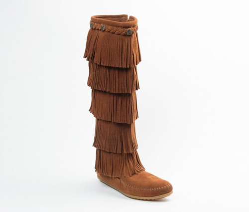 Minnetonka 5 Layer Fringe Boot Brown