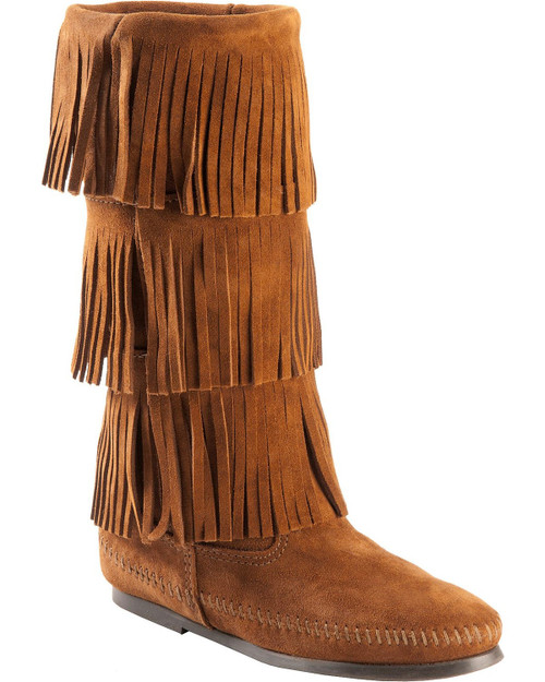 Minnetonka 3 Layer Fringe Boot Brown