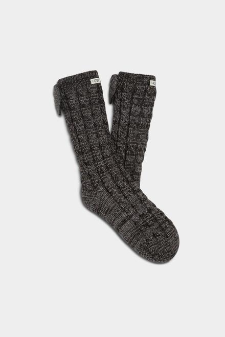 Ugg Laila Bow Fleece Lined Sock Charcoal/Silver