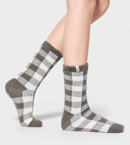 Ugg Vanna Check Fleece Lined Sock Charcoal/White