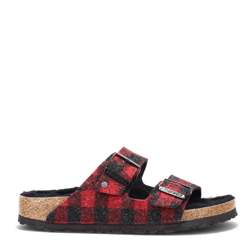 Birkenstock Arizona Shearling Wool Plaid Red