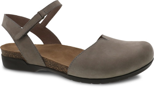 Dansko Rowan Closed Toe Sandal Taupe Milled Nubuck