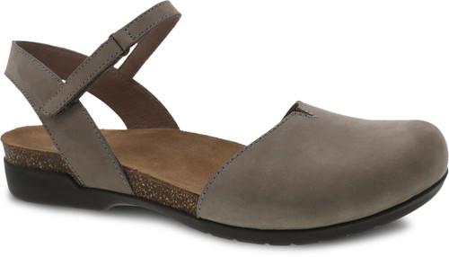 Dansko Rowan Closed Toe Sandal Taupe Milled Nubuck
