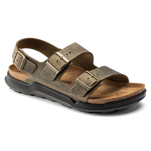 Birkenstock Milano Cross Town Khaki Oiled Leather