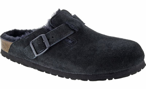 Birkenstock Boston Shearling Fur Black Suede