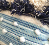Boho Cotton and Wool Tassel Pillow BLUE 50 x 50 cm
