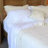 Queen size pure linen sheet sets with Ivory coloured coverlet, fringed blanket set.