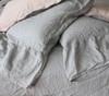 100%Pure French Flax Linen Cottage Style Long Ruffle Pillow Cases - Grey