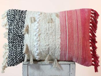 Indian Cotton Boho Pink Pillow Tassel Cushion