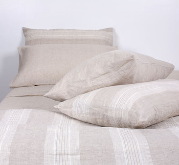 Striped French Linen Duvet Set