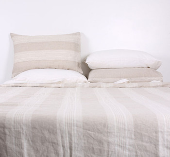 Linen Bed Sheets Q/K - Striped Yarn Dyed Linen