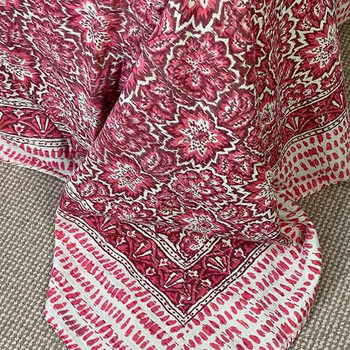 Kantha Quilt Queen Ati Sundar Pink Bloom