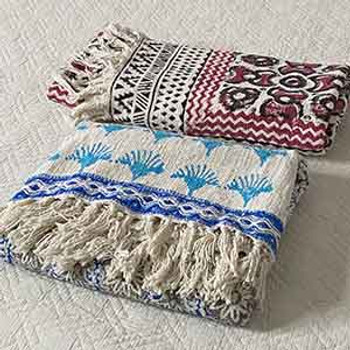 Block Print Throw Rugs - Hobo - Blue