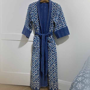 Kimono - size 8 to 12 - new cotton two layered Kantha Stitched Indigo Block printed  Kimono with a blue flowery pattern.