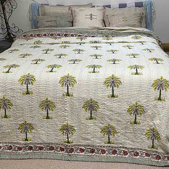 Kantha Quilt- Cotton Palm Tree Quilt - Citrus - Yummy Linen