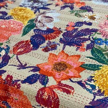 Cotton Kantha Quilt  Summer Garden - Bedspread - Yummy Linen