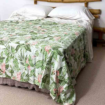 Pink Flamingo Kantha Quilt King / Queen