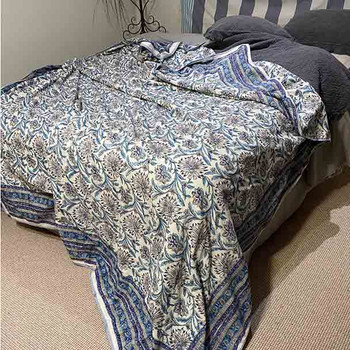 Floral Quilted Bed Sheet - Blue