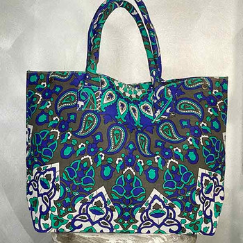 Blue and green mandala print tote shopping bag with a circular design.