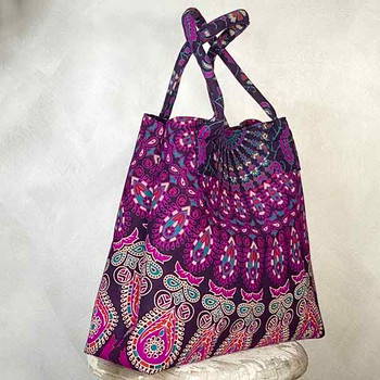 Mandala Cotton Ladies Tote Handbag Purple