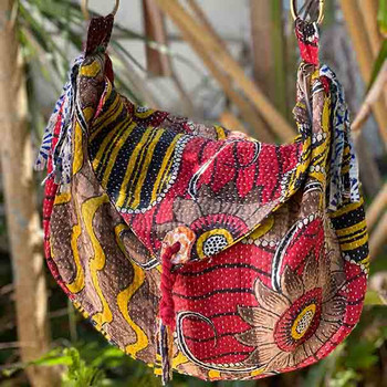 Boho Hippy Vintage Kantha Handbag 6 - Yummy Linen