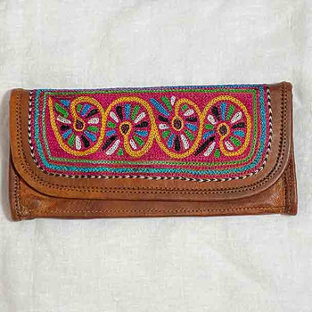 Boho Leather Wallets - Embroidered Ladies