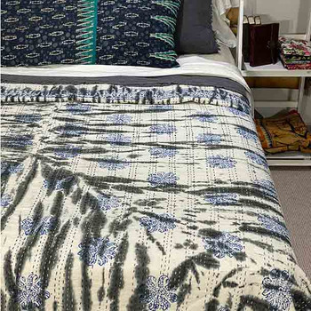 Tye-dyed Kantha Quilt Cotton - Black