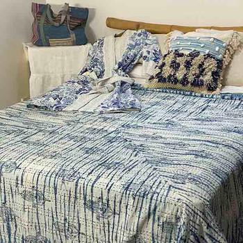 Tye-dyed Kantha Quilt Cotton - Indigo