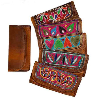 Wallets Boho Leather - Embroidered Ladies 2